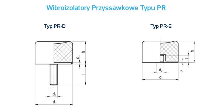 Wibroizolatory Przyssawkowe PR ProPolimer Rysunek